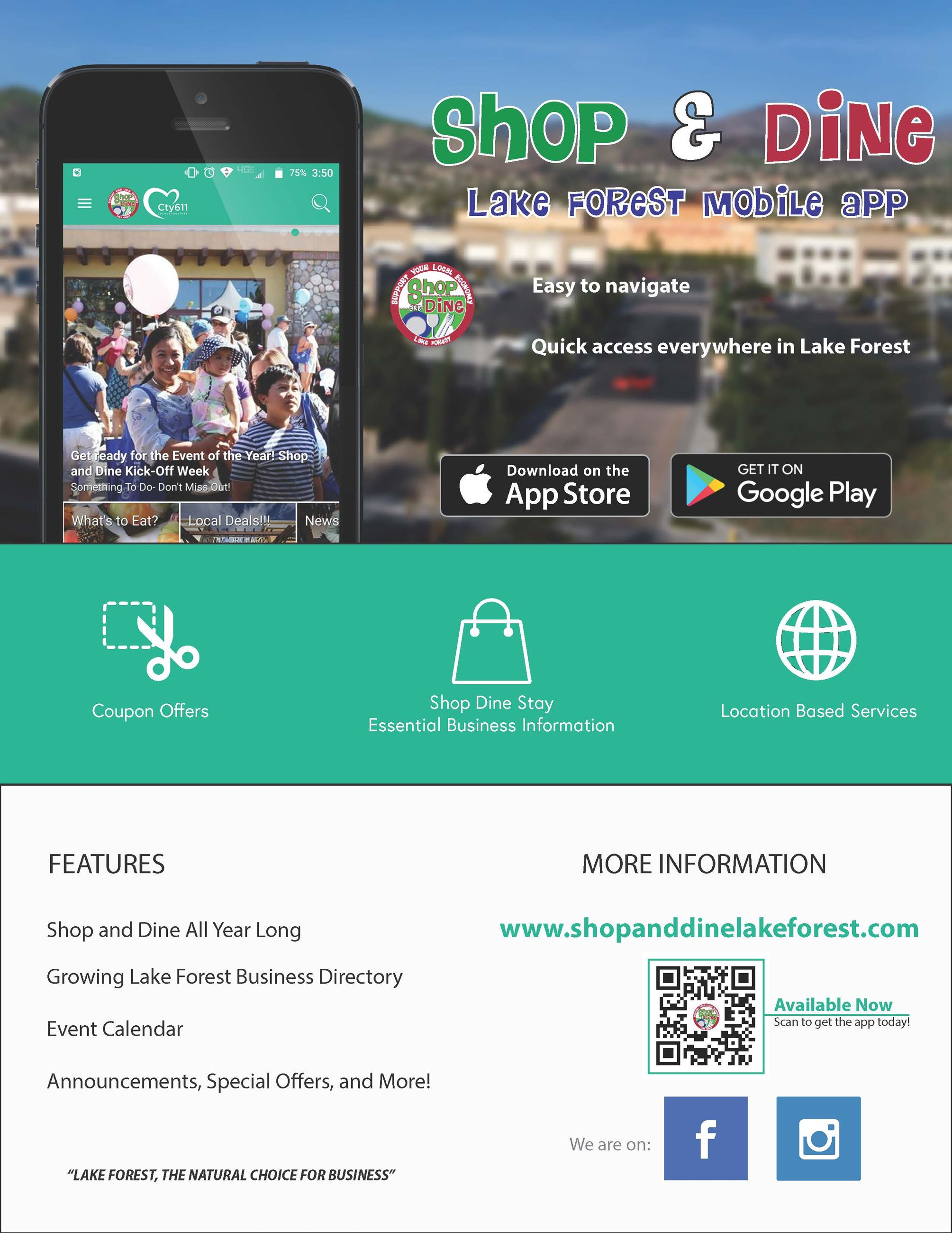 Shop and Dine Mobile App Flyer