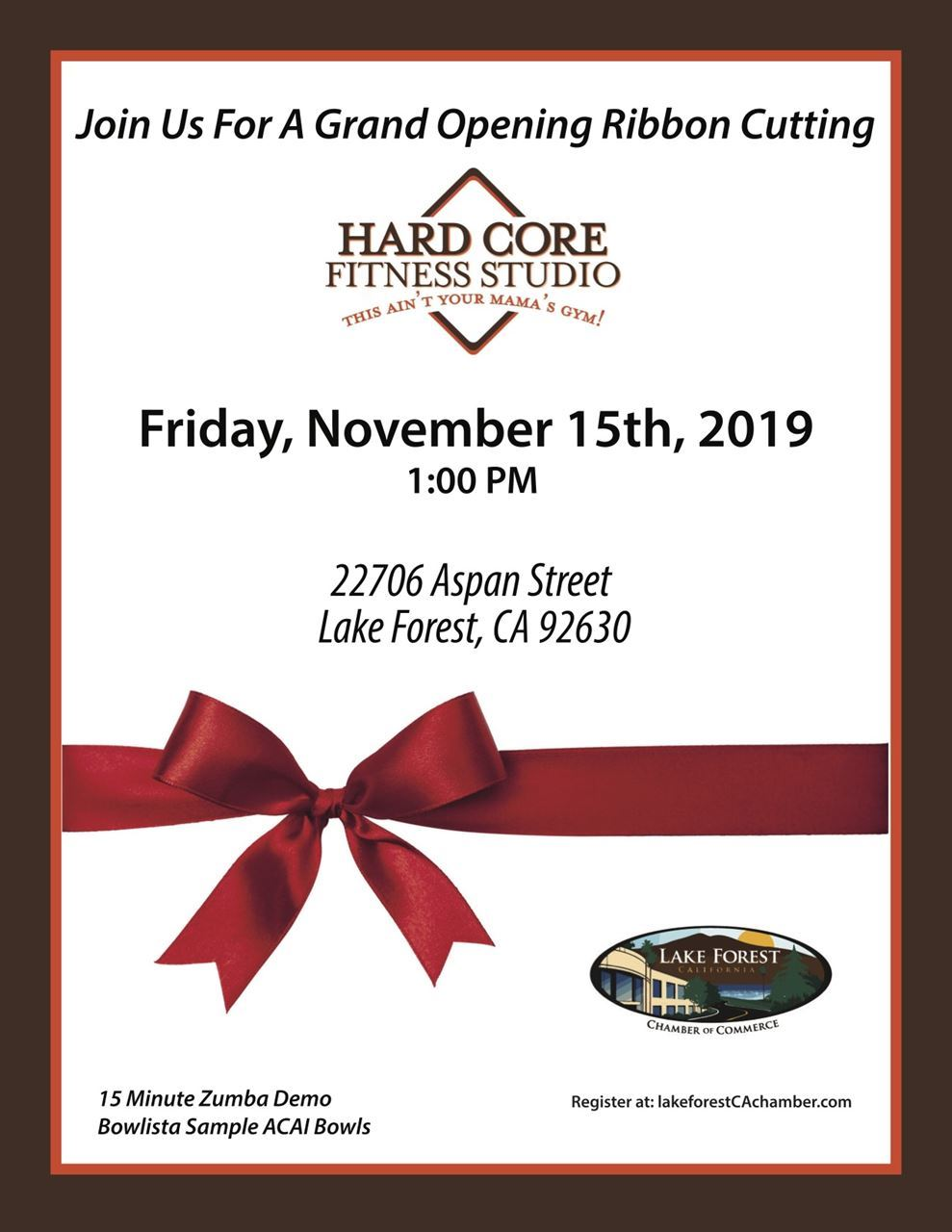 Ribbon Cutting Hard Core Fitness Flyer