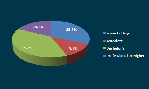 Education Distribution Pie Chart 23 % Some College, 9.1% Associates, 28% Bachelors, 13% Professional