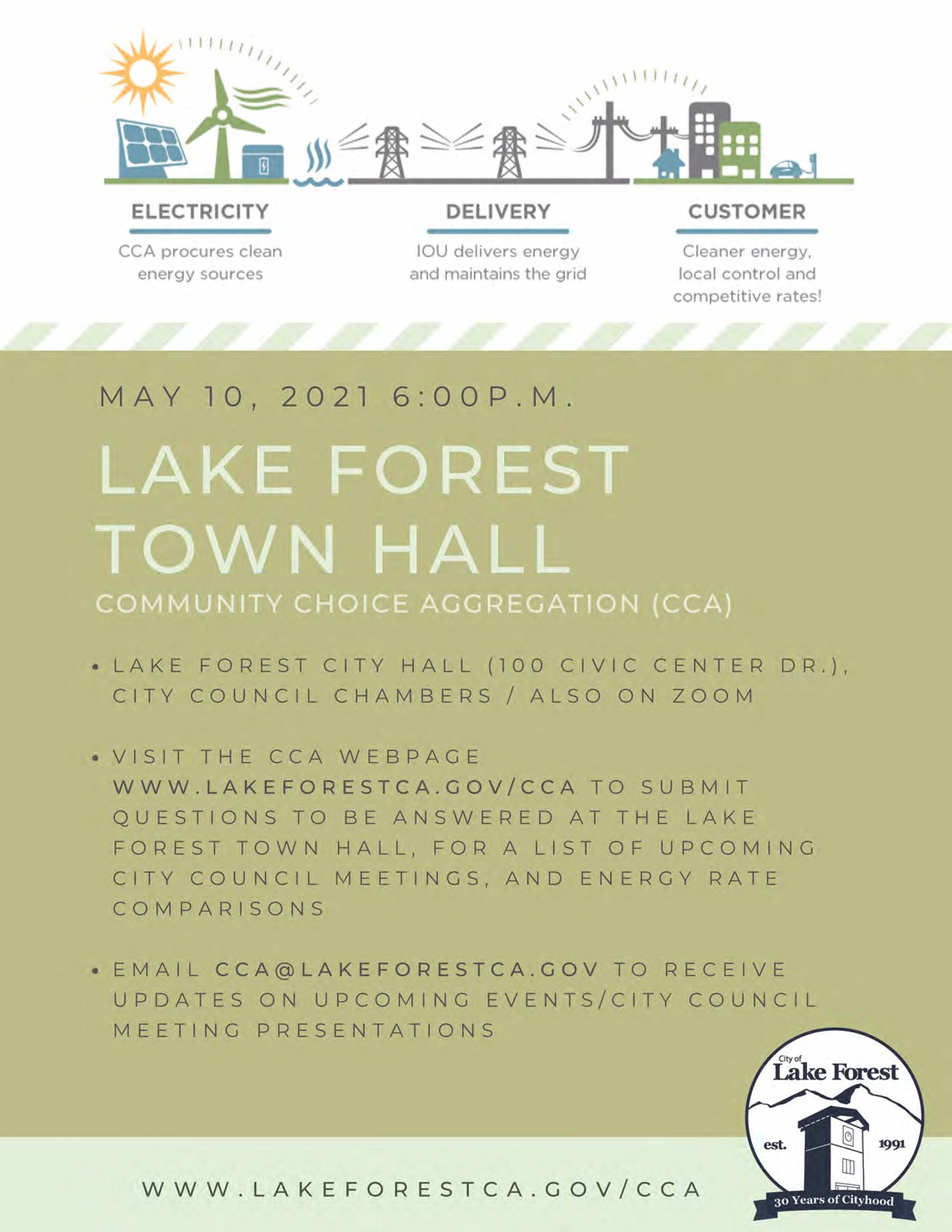 Lake Forest Town Hall - Community Choice Aggregation